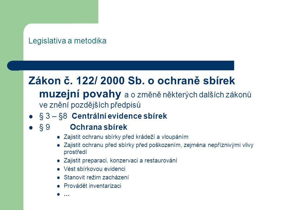 Legislativa a metodika Zákon č. 122/ 2000 Sb.
