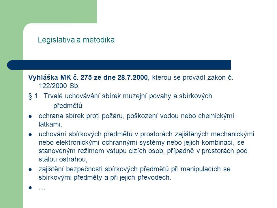 Legislativa a metodika Vyhláška MK č. 275 ze dne 28.7.2000, kterou se provádí zákon č.