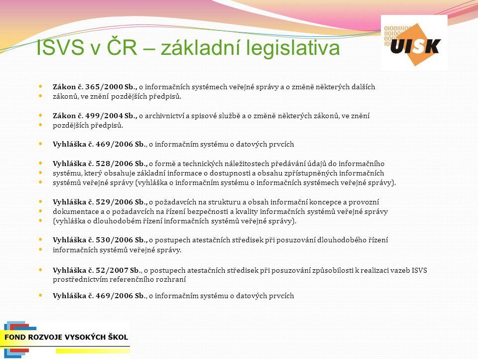 ISVS v ČR – základní legislativa Zákon č.