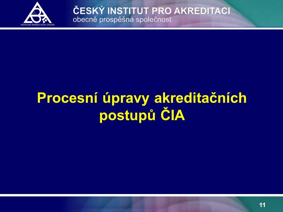 11 Procesní úpravy akreditačních postupů ČIA