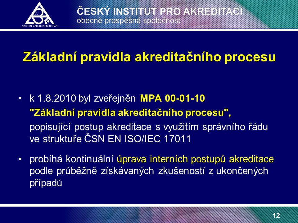 12 Základní pravidla akreditačního procesu k 1.8.2010 byl zveřejněn MPA 00-01-10 Základní pravidla akreditačního procesu , popisující postup akreditace s využitím správního řádu ve struktuře ČSN EN ISO/IEC 17011 probíhá kontinuální úprava interních postupů akreditace podle průběžně získávaných zkušeností z ukončených případů