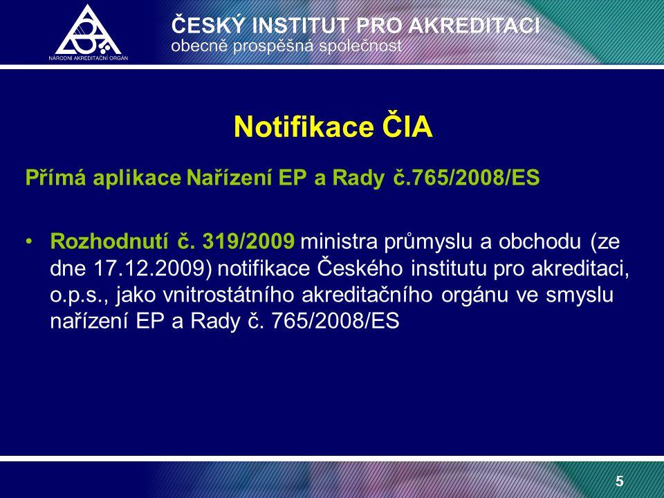 5 Notifikace ČIA Přímá aplikace Nařízení EP a Rady č.765/2008/ES Rozhodnutí č.