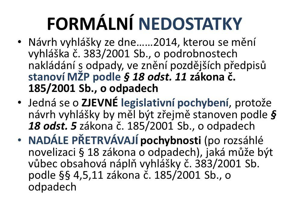 FORMÁLNÍ NEDOSTATKY Návrh vyhlášky ze dne……2014, kterou se mění vyhláška č.