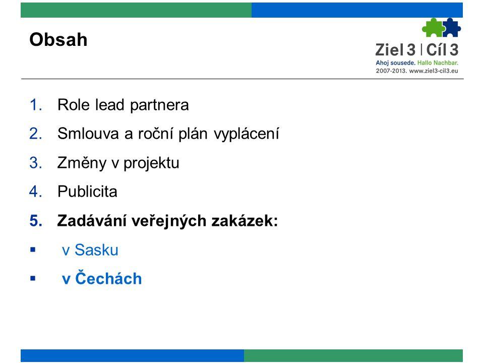 Obsah 1.Role lead partnera 2.Smlouva a roční plán vyplácení 3.Změny v projektu 4.Publicita 5.Zadávání veřejných zakázek:  v Sasku  v Čechách