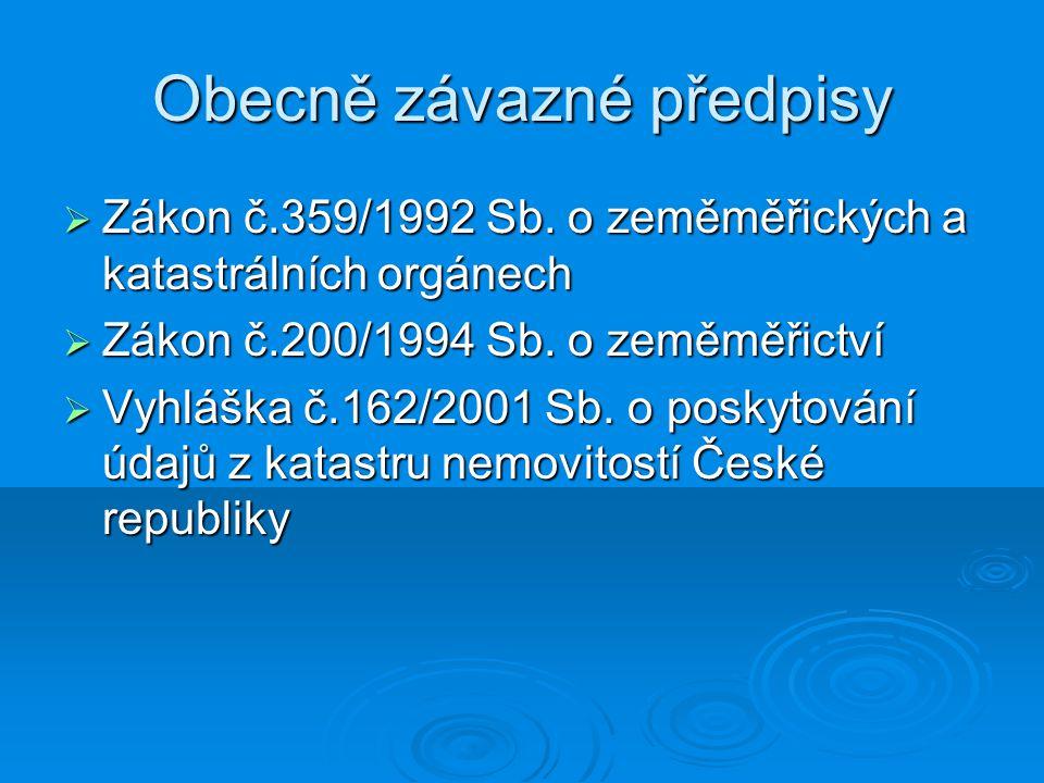 Organizační schéma resortu  Český úřad zeměměřický a katastrální  Katastrální úřady (14)  Katastrální pracoviště (111)  Zeměměřické a katastrální inspektoráty(7)  Zeměměřický úřad  Výzkumný ústav geodetický, topografický a kartografický