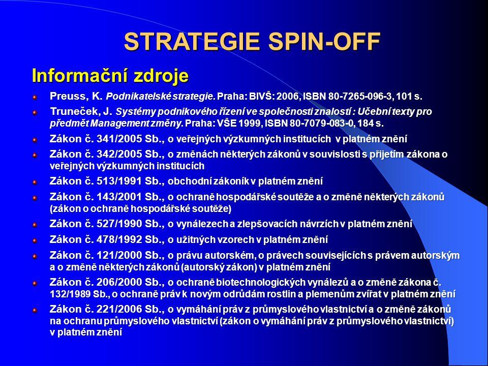 STRATEGIE SPIN-OFF Informační zdroje Preuss, K. Podnikatelské strategie. Praha: BIVŠ: 2006, ISBN 80-7265-096-3, 101 s. Truneček, J. Systémy podnikovéh