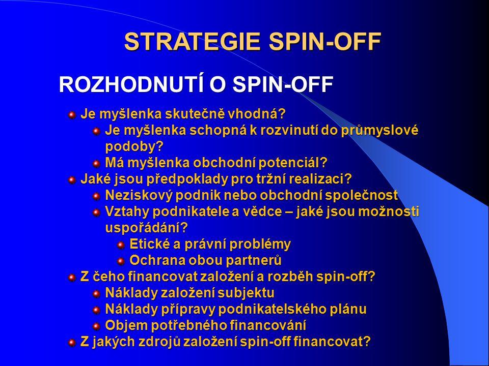 STRATEGIE SPIN-OFF ROZHODNUTÍ O SPIN-OFF Je myšlenka skutečně vhodná? Je myšlenka schopná k rozvinutí do průmyslové podoby? Má myšlenka obchodní poten