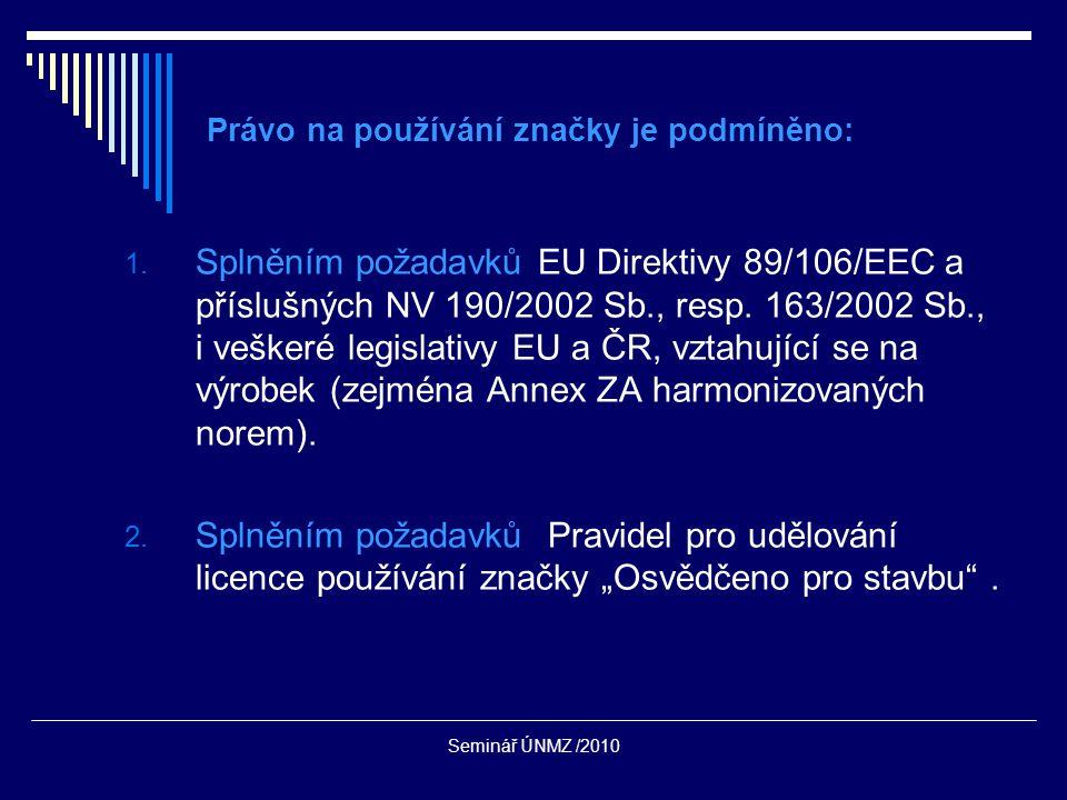 Seminář ÚNMZ /2010 Právo na používání značky je podmíněno: 1.