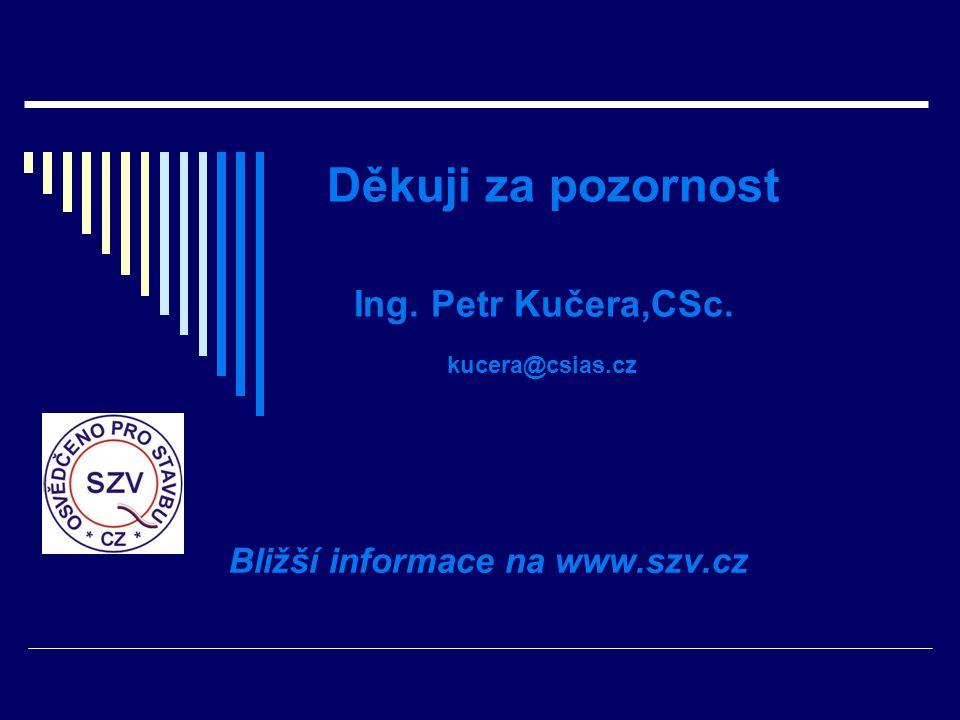Děkuji za pozornost Ing. Petr Kučera,CSc. kucera@csias.cz Bližší informace na www.szv.cz