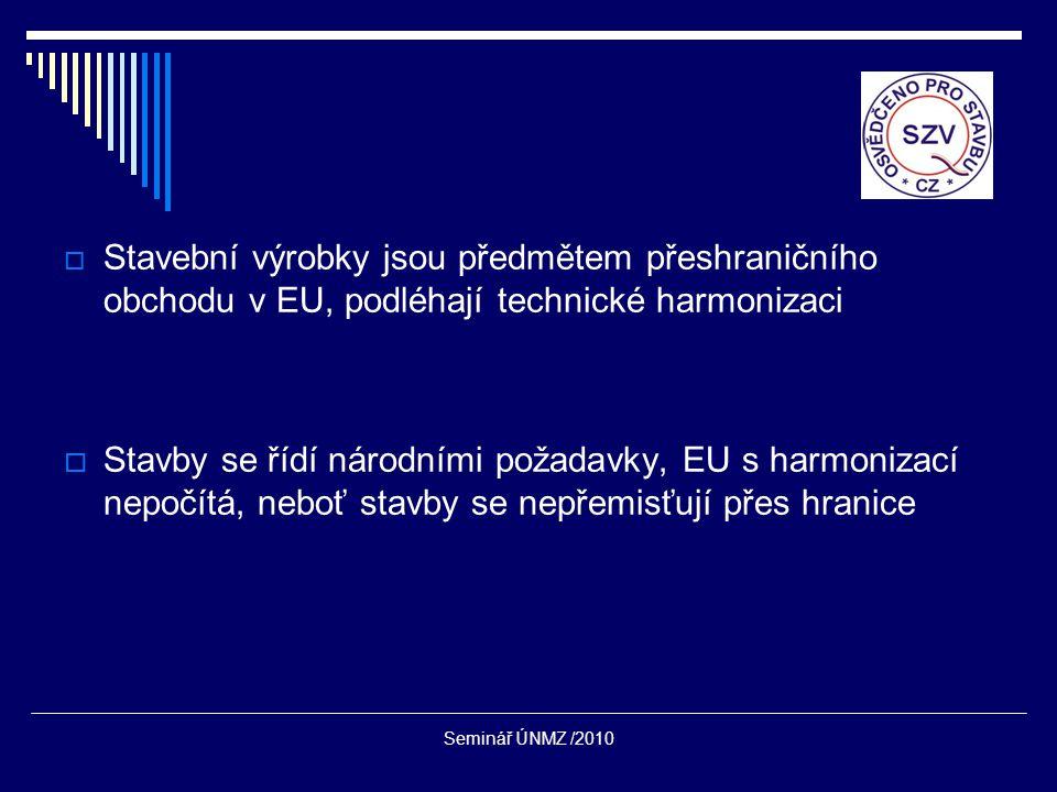 Seminář ÚNMZ /2010  Stavební výrobky jsou předmětem přeshraničního obchodu v EU, podléhají technické harmonizaci  Stavby se řídí národními požadavky, EU s harmonizací nepočítá, neboť stavby se nepřemisťují přes hranice