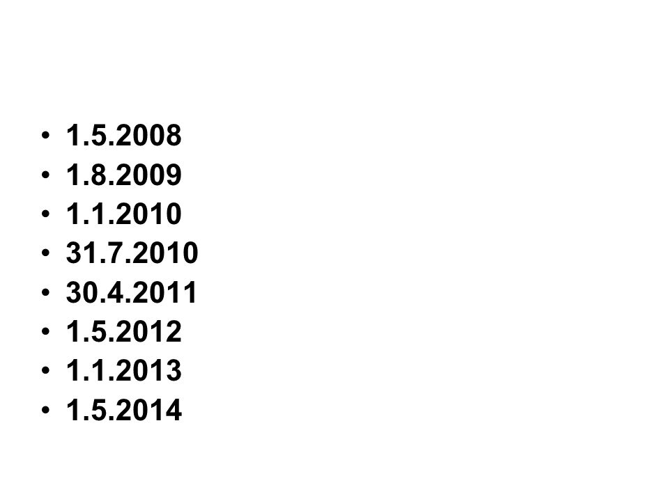 1.5.2008 1.8.2009 1.1.2010 31.7.2010 30.4.2011 1.5.2012 1.1.2013 1.5.2014