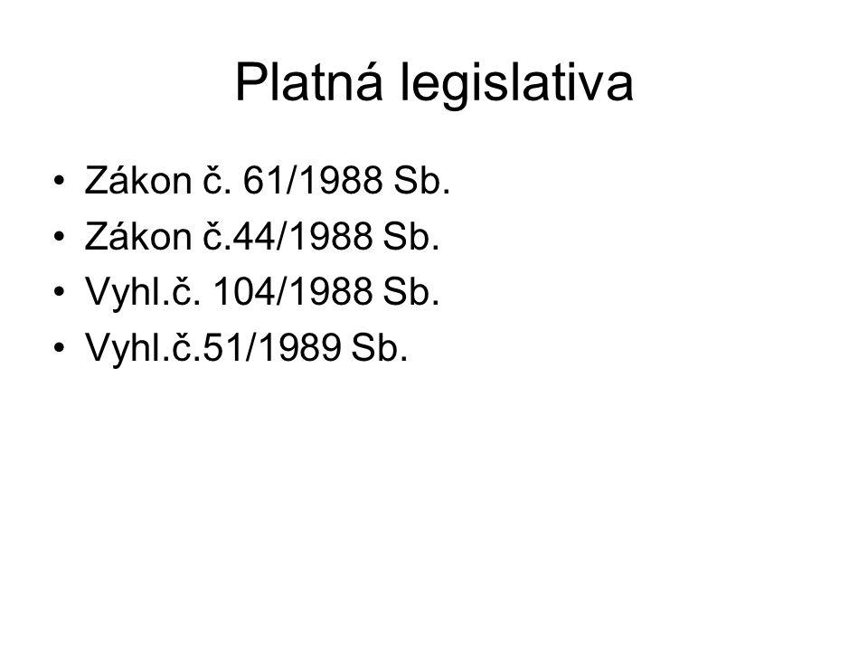 Platná legislativa Zákon č. 61/1988 Sb. Zákon č.44/1988 Sb. Vyhl.č. 104/1988 Sb. Vyhl.č.51/1989 Sb.