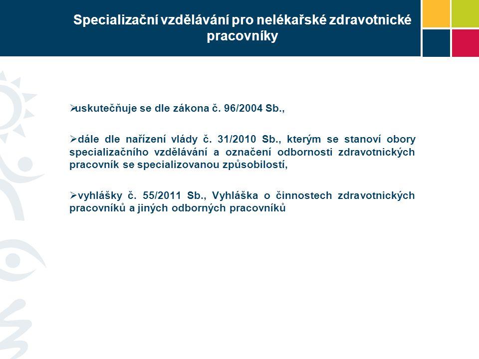 Specializační vzdělávání pro nelékařské zdravotnické pracovníky  uskutečňuje se dle zákona č. 96/2004 Sb.,  dále dle nařízení vlády č. 31/2010 Sb.,