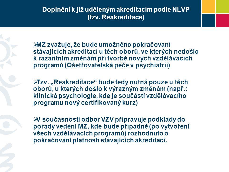 Doplnění k již uděleným akreditacím podle NLVP (tzv. Reakreditace)  MZ zvažuje, že bude umožněno pokračovaní stávajících akreditací u těch oborů, ve