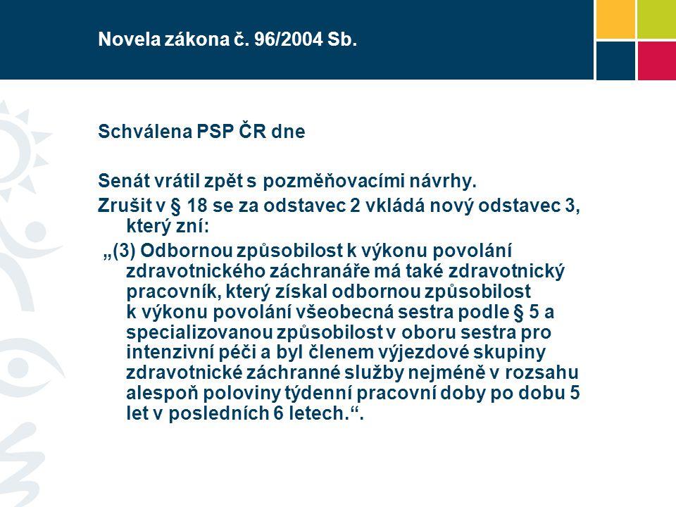 Novela zákona č. 96/2004 Sb. Schválena PSP ČR dne Senát vrátil zpět s pozměňovacími návrhy. Zrušit v § 18 se za odstavec 2 vkládá nový odstavec 3, kte