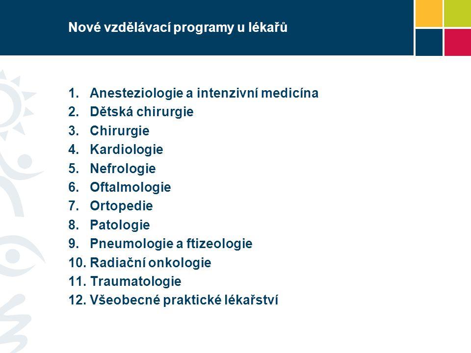 Nové vzdělávací programy u lékařů 1. Anesteziologie a intenzivní medicína 2. Dětská chirurgie 3. Chirurgie 4. Kardiologie 5. Nefrologie 6. Oftalmologi