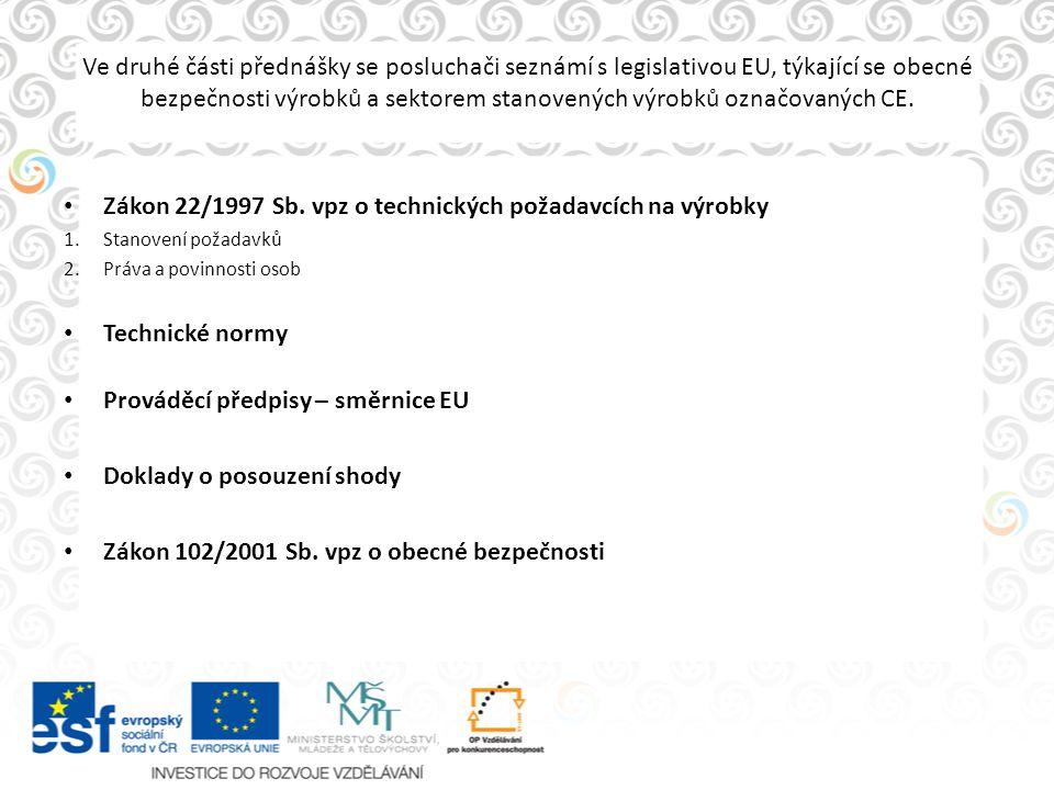 Ve druhé části přednášky se posluchači seznámí s legislativou EU, týkající se obecné bezpečnosti výrobků a sektorem stanovených výrobků označovaných C
