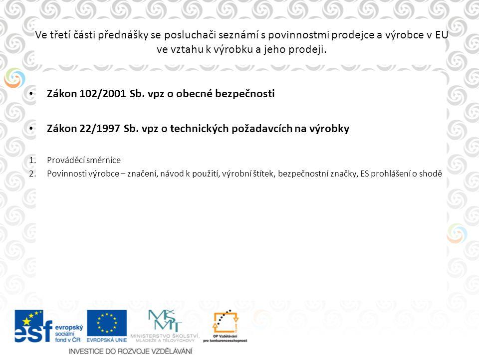 Ve třetí části přednášky se posluchači seznámí s povinnostmi prodejce a výrobce v EU ve vztahu k výrobku a jeho prodeji. Zákon 102/2001 Sb. vpz o obec