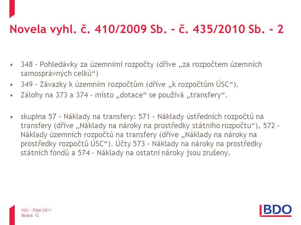 """Novela vyhl. č. 410/2009 Sb. – č. 435/2010 Sb. - 2 348 – Pohledávky za územními rozpočty (dříve """"za rozpočtem územních samosprávných celků"""") 349 – Záv"""