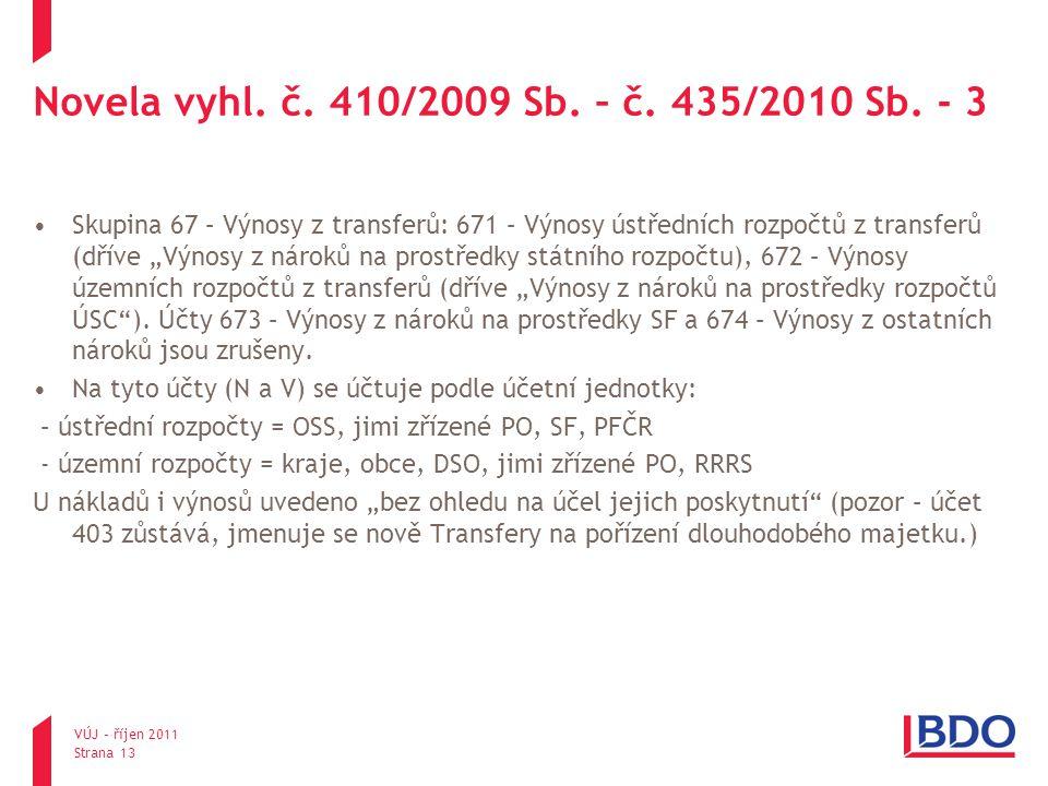 """Novela vyhl. č. 410/2009 Sb. – č. 435/2010 Sb. - 3 Skupina 67 – Výnosy z transferů: 671 – Výnosy ústředních rozpočtů z transferů (dříve """"Výnosy z náro"""