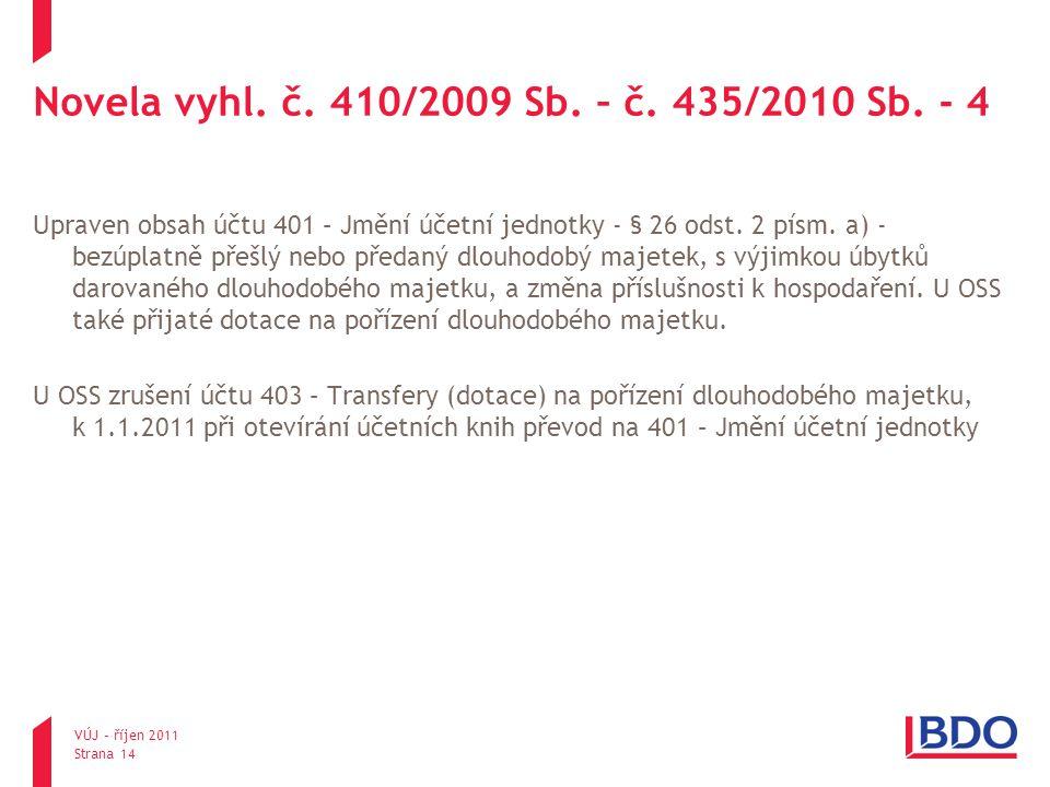 Novela vyhl. č. 410/2009 Sb. – č. 435/2010 Sb. - 4 Upraven obsah účtu 401 – Jmění účetní jednotky - § 26 odst. 2 písm. a) - bezúplatně přešlý nebo pře