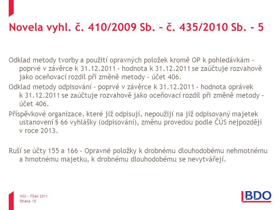 Novela vyhl. č. 410/2009 Sb. – č. 435/2010 Sb. - 5 Odklad metody tvorby a použití opravných položek kromě OP k pohledávkám – poprvé v závěrce k 31.12.