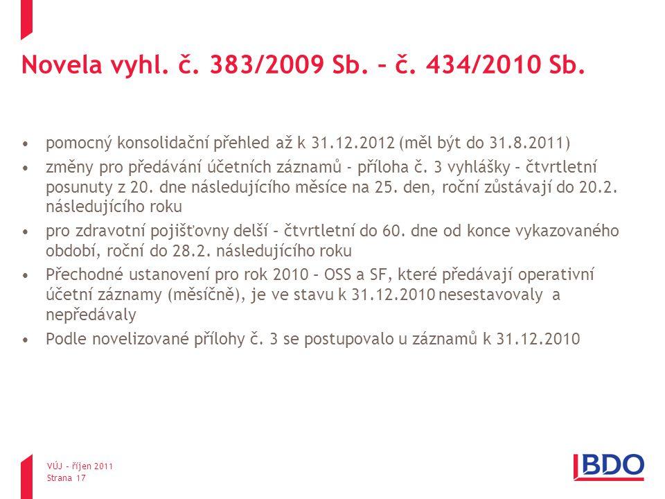 Novela vyhl. č. 383/2009 Sb. – č. 434/2010 Sb. pomocný konsolidační přehled až k 31.12.2012 (měl být do 31.8.2011) změny pro předávání účetních záznam