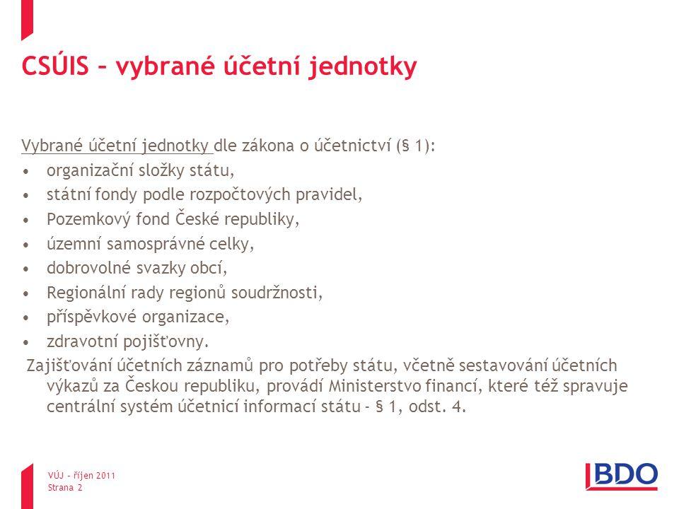 VÚJ – říjen 2011 Strana 2 CSÚIS – vybrané účetní jednotky Vybrané účetní jednotky dle zákona o účetnictví (§ 1): organizační složky státu, státní fond