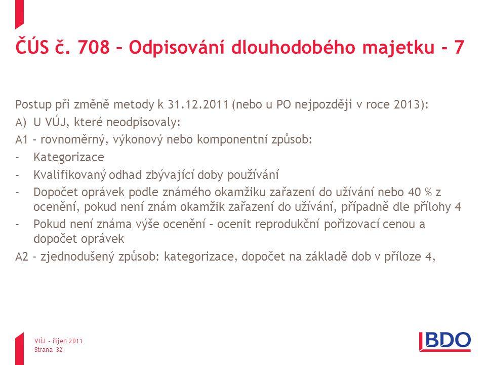 ČÚS č. 708 – Odpisování dlouhodobého majetku - 7 Postup při změně metody k 31.12.2011 (nebo u PO nejpozději v roce 2013): A)U VÚJ, které neodpisovaly: