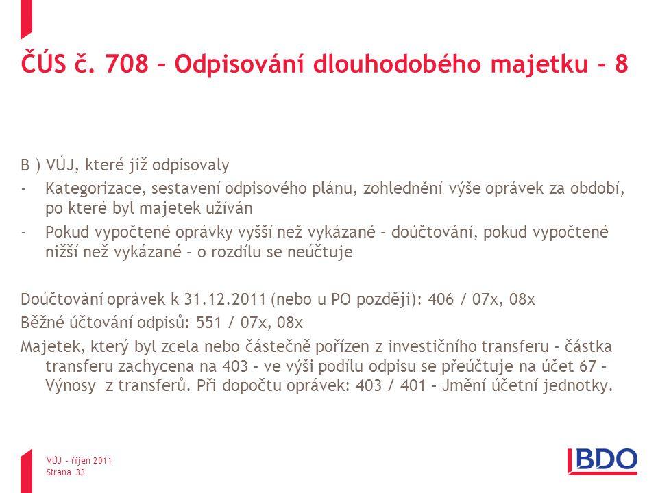 ČÚS č. 708 – Odpisování dlouhodobého majetku - 8 B ) VÚJ, které již odpisovaly -Kategorizace, sestavení odpisového plánu, zohlednění výše oprávek za o