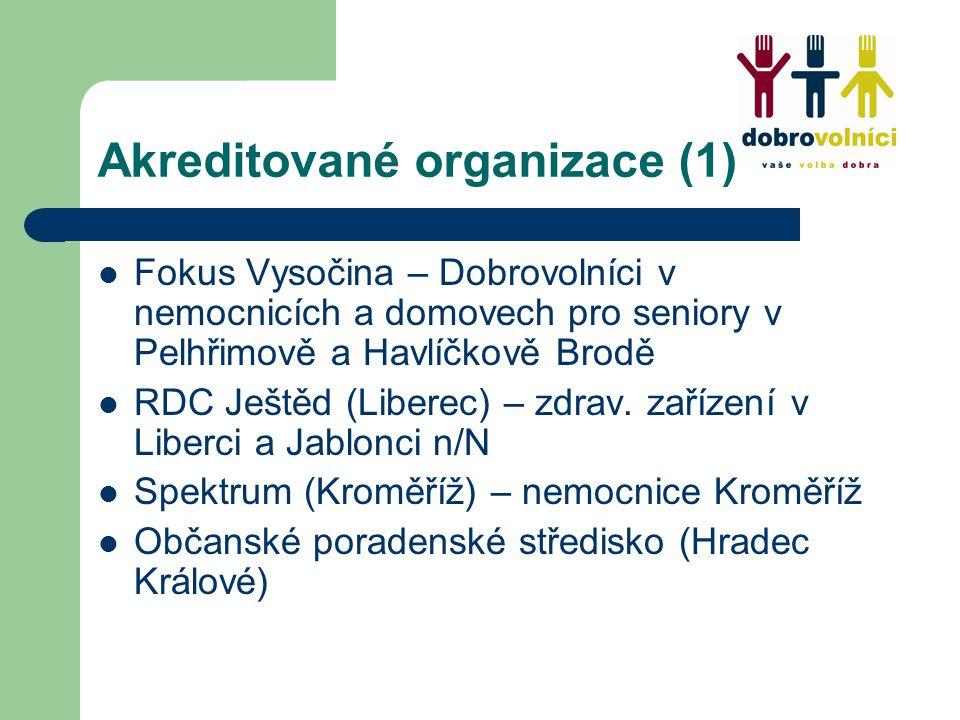 Akreditované organizace (1) Fokus Vysočina – Dobrovolníci v nemocnicích a domovech pro seniory v Pelhřimově a Havlíčkově Brodě RDC Ještěd (Liberec) – zdrav.