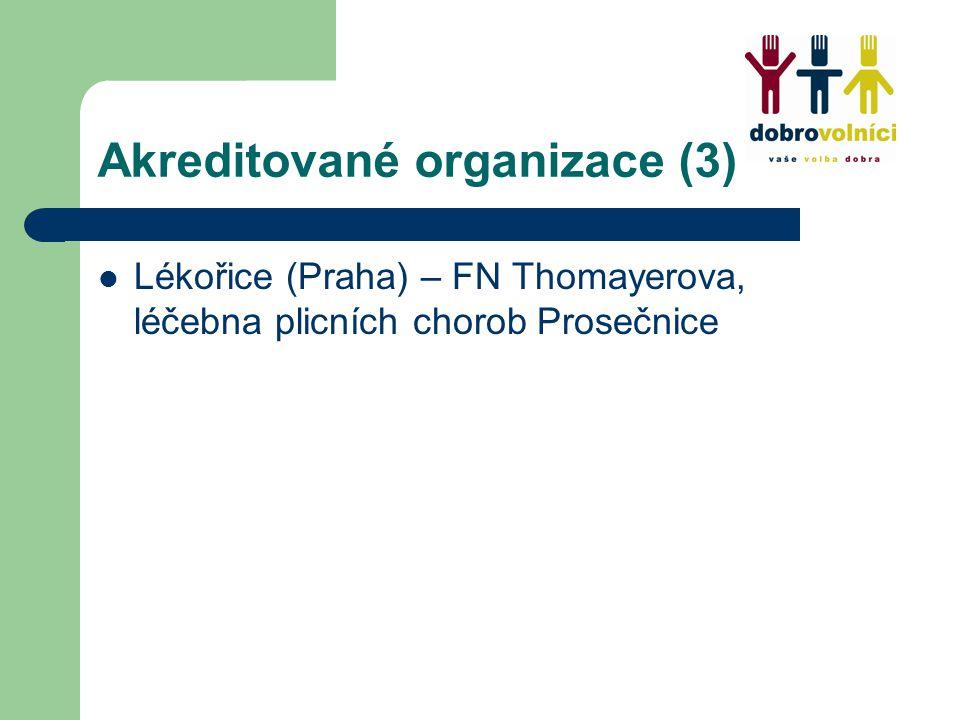 Akreditované organizace (3) Lékořice (Praha) – FN Thomayerova, léčebna plicních chorob Prosečnice