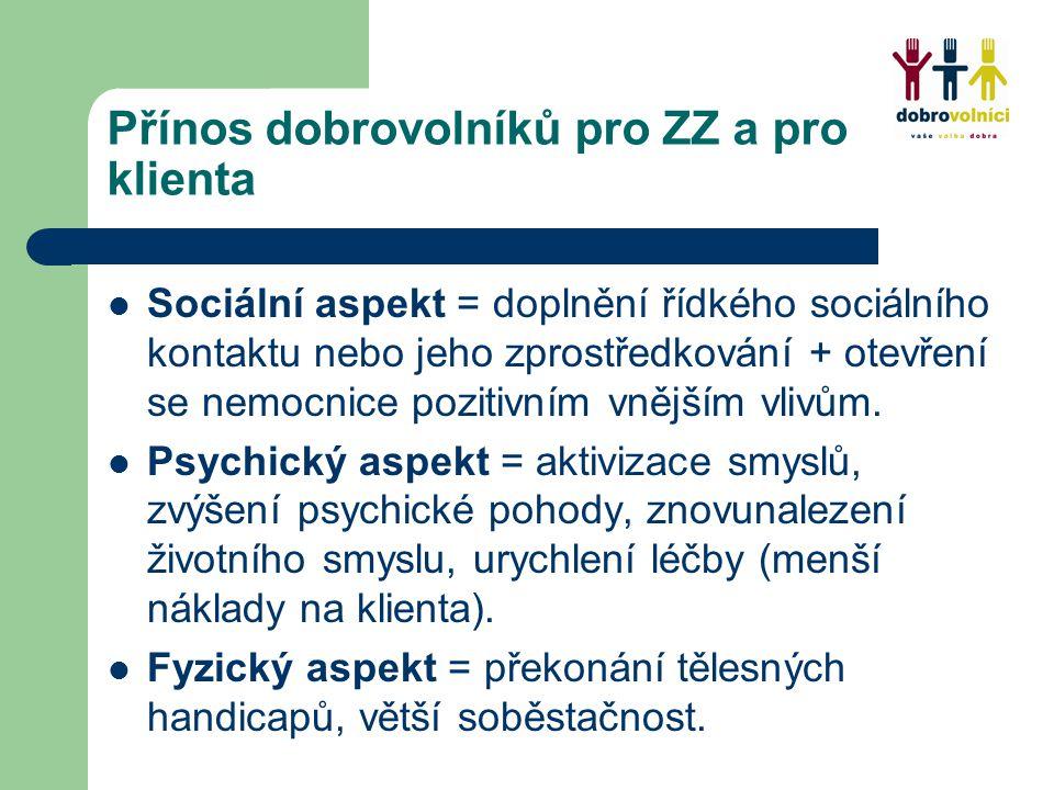 Přínos dobrovolníků pro ZZ a pro klienta Sociální aspekt = doplnění řídkého sociálního kontaktu nebo jeho zprostředkování + otevření se nemocnice pozitivním vnějším vlivům.