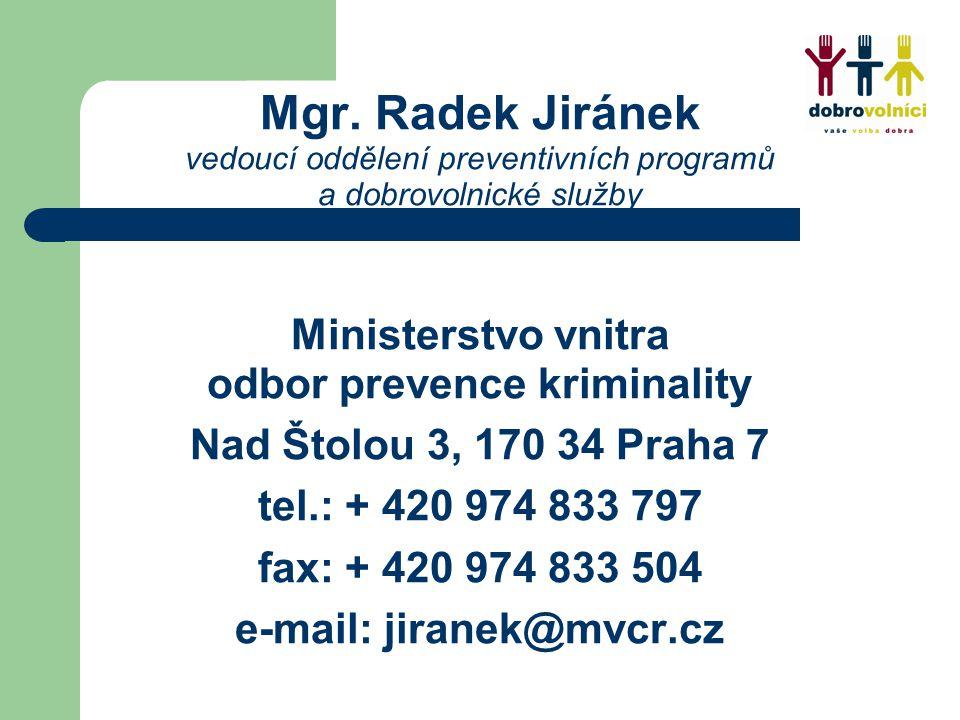 Mgr. Radek Jiránek vedoucí oddělení preventivních programů a dobrovolnické služby Ministerstvo vnitra odbor prevence kriminality Nad Štolou 3, 170 34