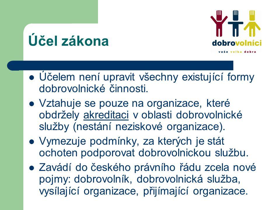 Účel zákona Účelem není upravit všechny existující formy dobrovolnické činnosti.
