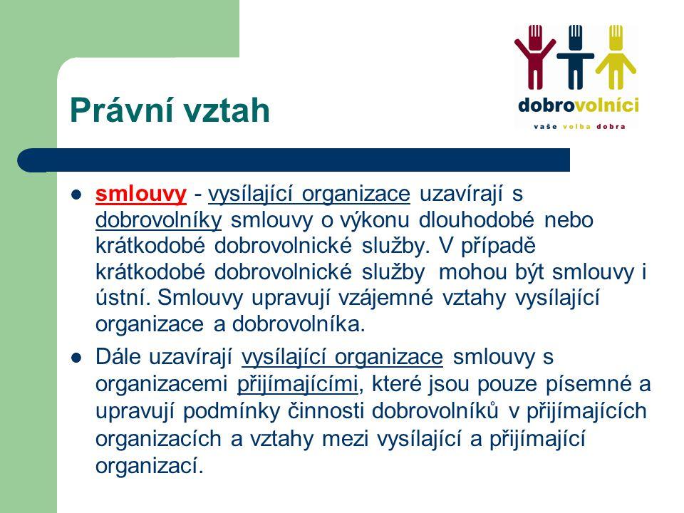 Právní vztah smlouvy - vysílající organizace uzavírají s dobrovolníky smlouvy o výkonu dlouhodobé nebo krátkodobé dobrovolnické služby.
