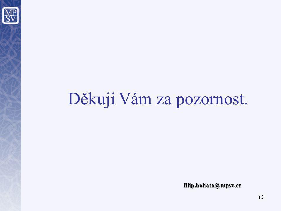 Děkuji Vám za pozornost. 12 filip.bohata@mpsv.cz