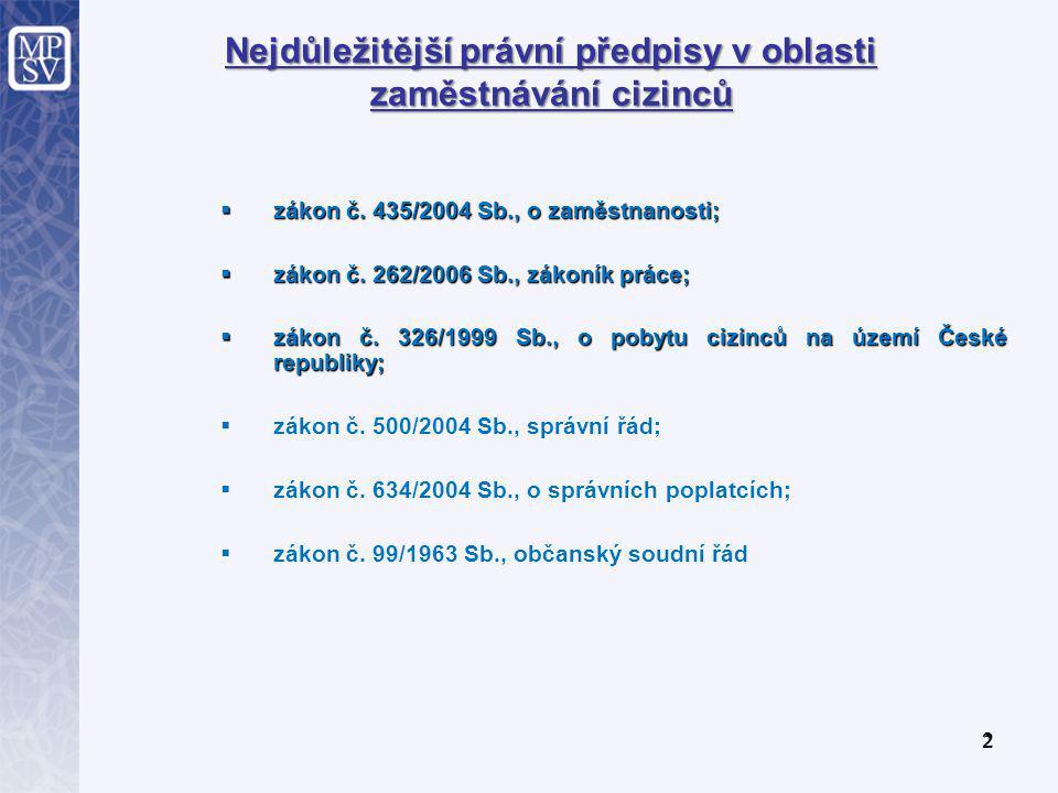 2 2 Nejdůležitější právní předpisy v oblasti zaměstnávání cizinců  zákon č.
