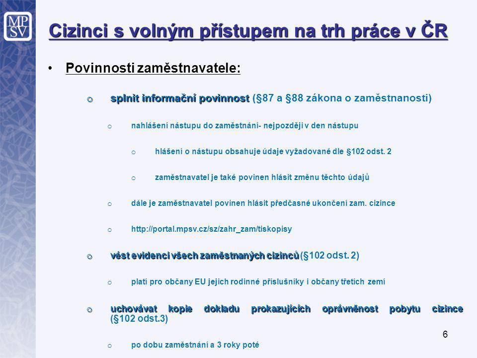 6 Cizinci s volným přístupem na trh práce v ČR Povinnosti zaměstnavatele:Povinnosti zaměstnavatele: o splnit informační povinnost o splnit informační povinnost (§87 a §88 zákona o zaměstnanosti) o nahlášení nástupu do zaměstnání- nejpozději v den nástupu o hlášení o nástupu obsahuje údaje vyžadované dle §102 odst.