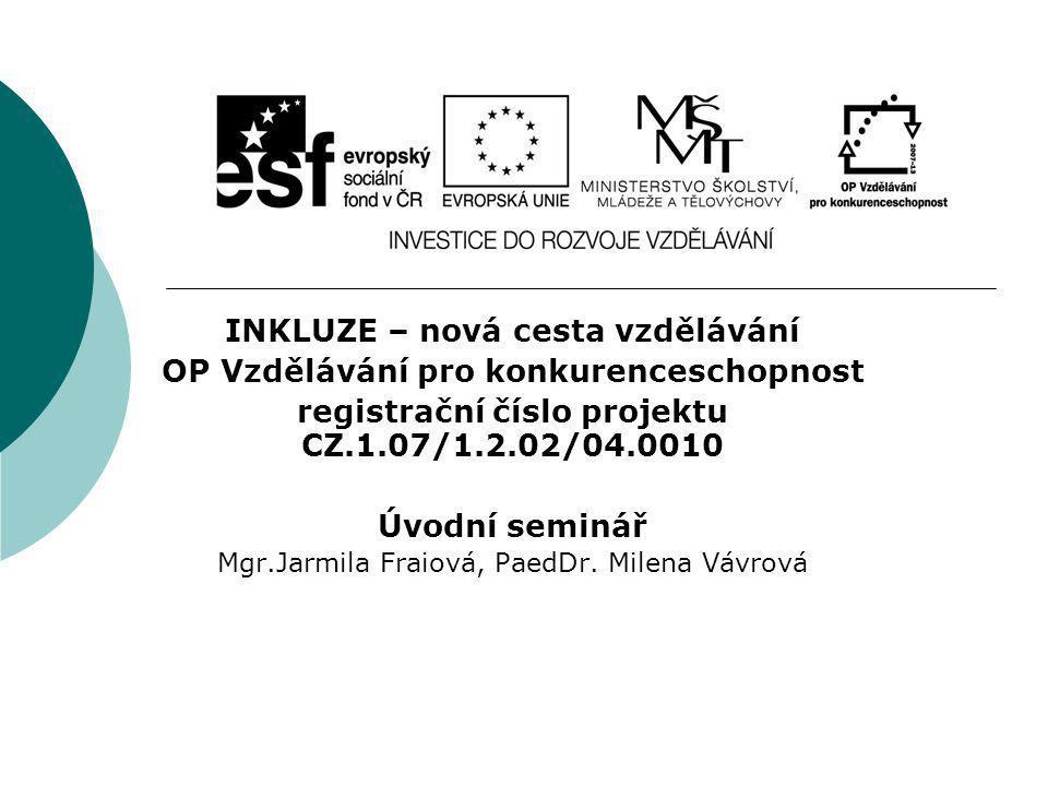 INKLUZE – nová cesta vzdělávání OP Vzdělávání pro konkurenceschopnost registrační číslo projektu CZ.1.07/1.2.02/04.0010 Úvodní seminář Mgr.Jarmila Fra