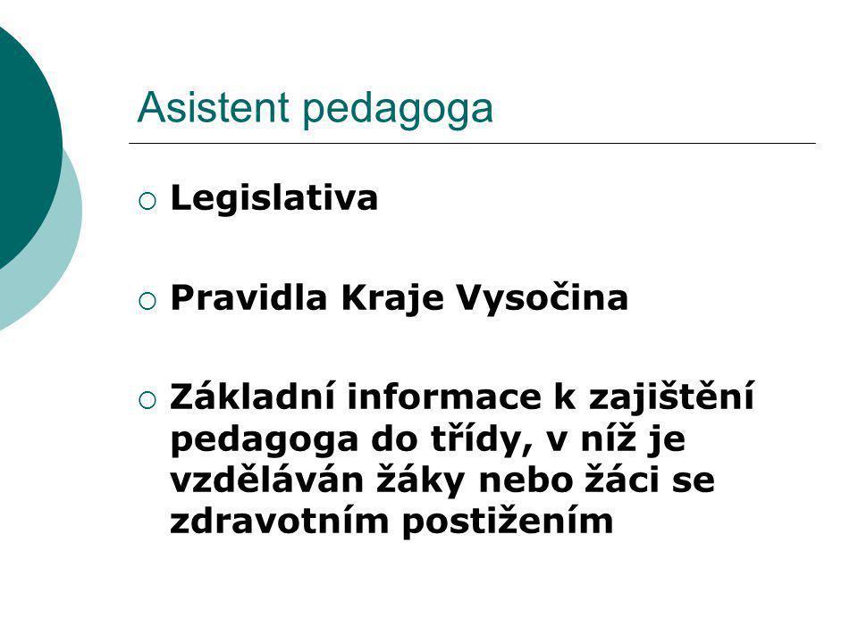 Asistent pedagoga  Legislativa  Pravidla Kraje Vysočina  Základní informace k zajištění pedagoga do třídy, v níž je vzděláván žáky nebo žáci se zdr
