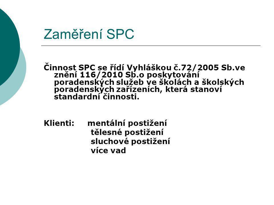 Zaměření SPC Činnost SPC se řídí Vyhláškou č.72/2005 Sb.ve znění 116/2010 Sb.o poskytování poradenských služeb ve školách a školských poradenských zař