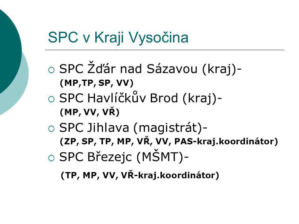 SPC v Kraji Vysočina  SPC Žďár nad Sázavou (kraj)- (MP,TP, SP, VV)  SPC Havlíčkův Brod (kraj)- (MP, VV, VŘ)  SPC Jihlava (magistrát)- (ZP, SP, TP,
