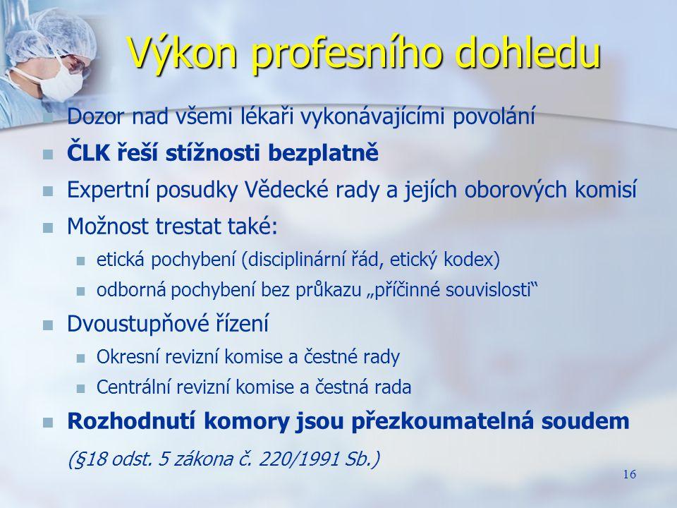16 Výkon profesního dohledu Dozor nad všemi lékaři vykonávajícími povolání ČLK řeší stížnosti bezplatně Expertní posudky Vědecké rady a jejích oborový