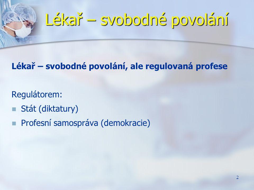 2 Lékař – svobodné povolání Lékař – svobodné povolání, ale regulovaná profese Regulátorem: Stát (diktatury) Profesní samospráva (demokracie)