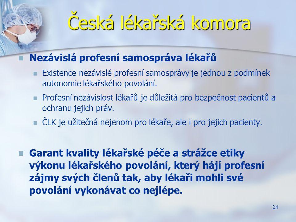 24 Česká lékařská komora Nezávislá profesní samospráva lékařů Existence nezávislé profesní samosprávy je jednou z podmínek autonomie lékařského povolá