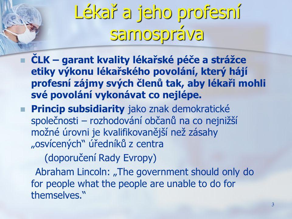 24 Česká lékařská komora Nezávislá profesní samospráva lékařů Existence nezávislé profesní samosprávy je jednou z podmínek autonomie lékařského povolání.