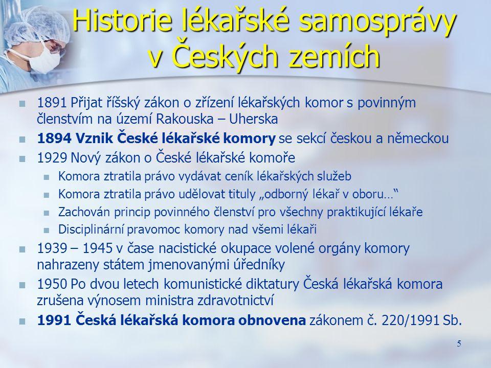 Historie lékařské samosprávy v Českých zemích 1891 Přijat říšský zákon o zřízení lékařských komor s povinným členstvím na území Rakouska – Uherska 189