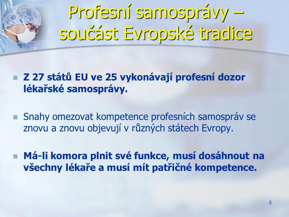 8 Profesní samosprávy – součást Evropské tradice Z 27 států EU ve 25 vykonávají profesní dozor lékařské samosprávy. Snahy omezovat kompetence profesní