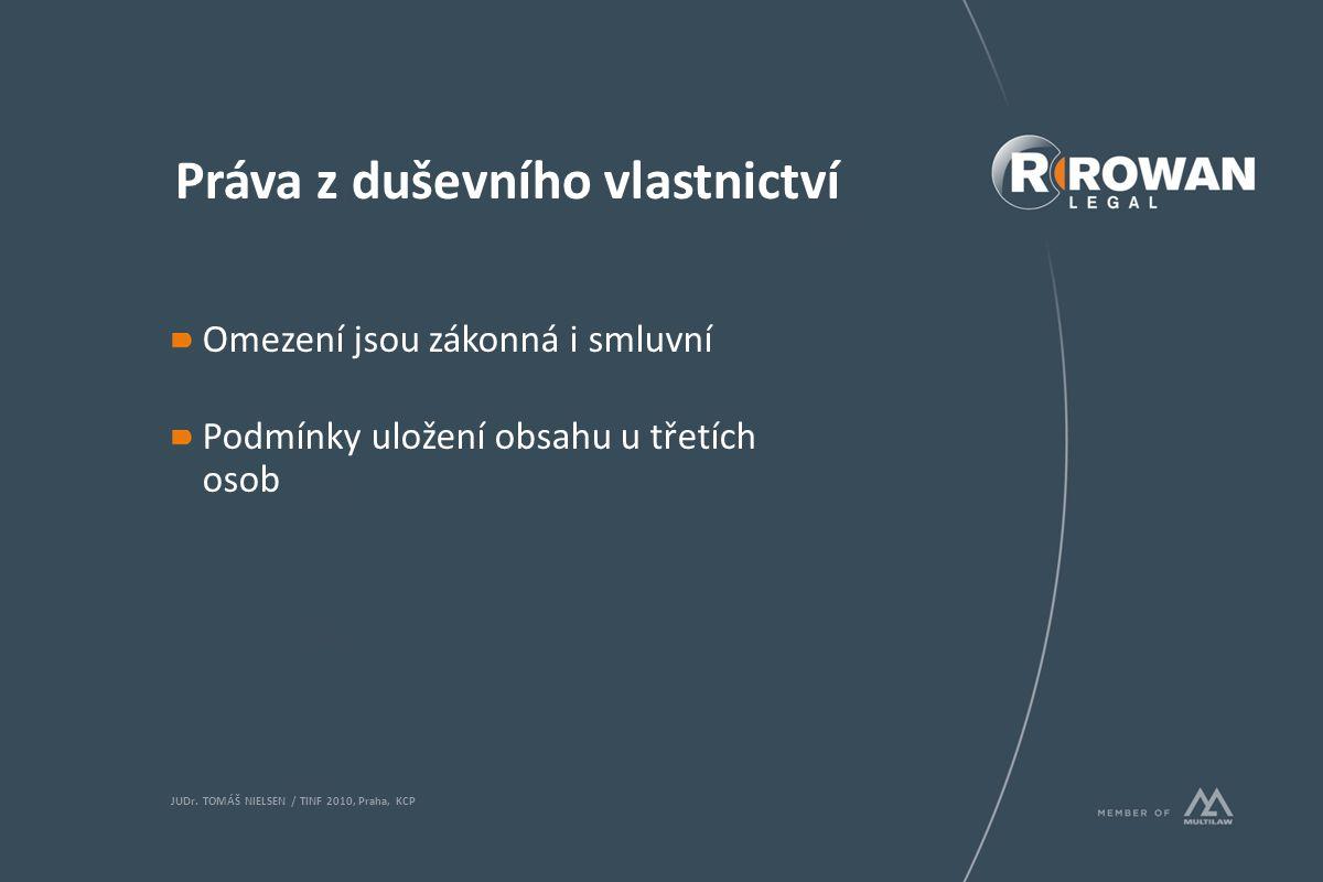 Práva z duševního vlastnictví Omezení jsou zákonná i smluvní Podmínky uložení obsahu u třetích osob JUDr. TOMÁŠ NIELSEN / TINF 2010, Praha, KCP